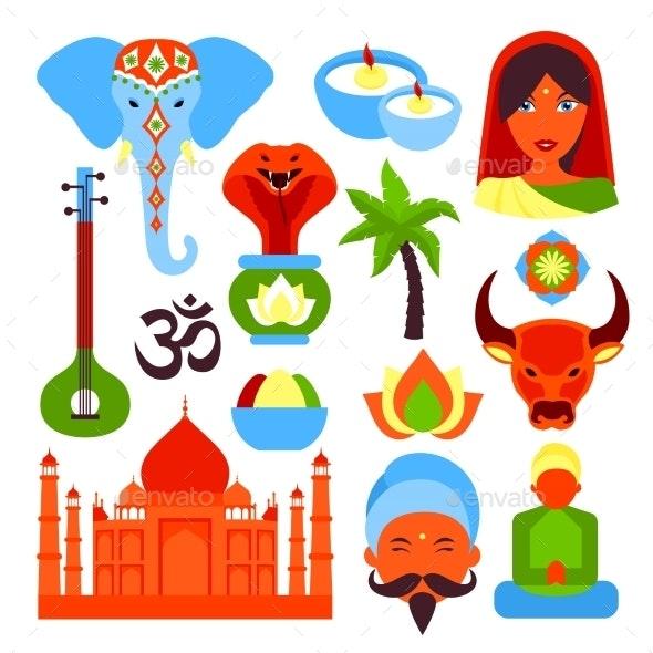 India Symbols Set - Travel Conceptual