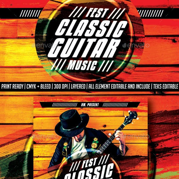 Classical Guitar Festival Music Flyer