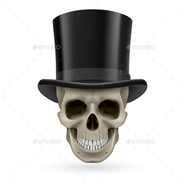 Human Skull with Hat On - Monsters Characters