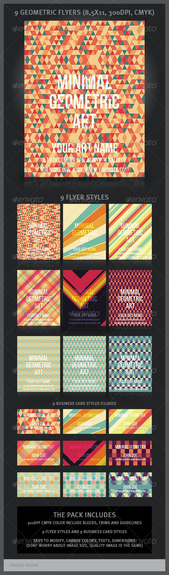 9 Geometric Flyers and Business Cards - Miscellaneous Print Templates