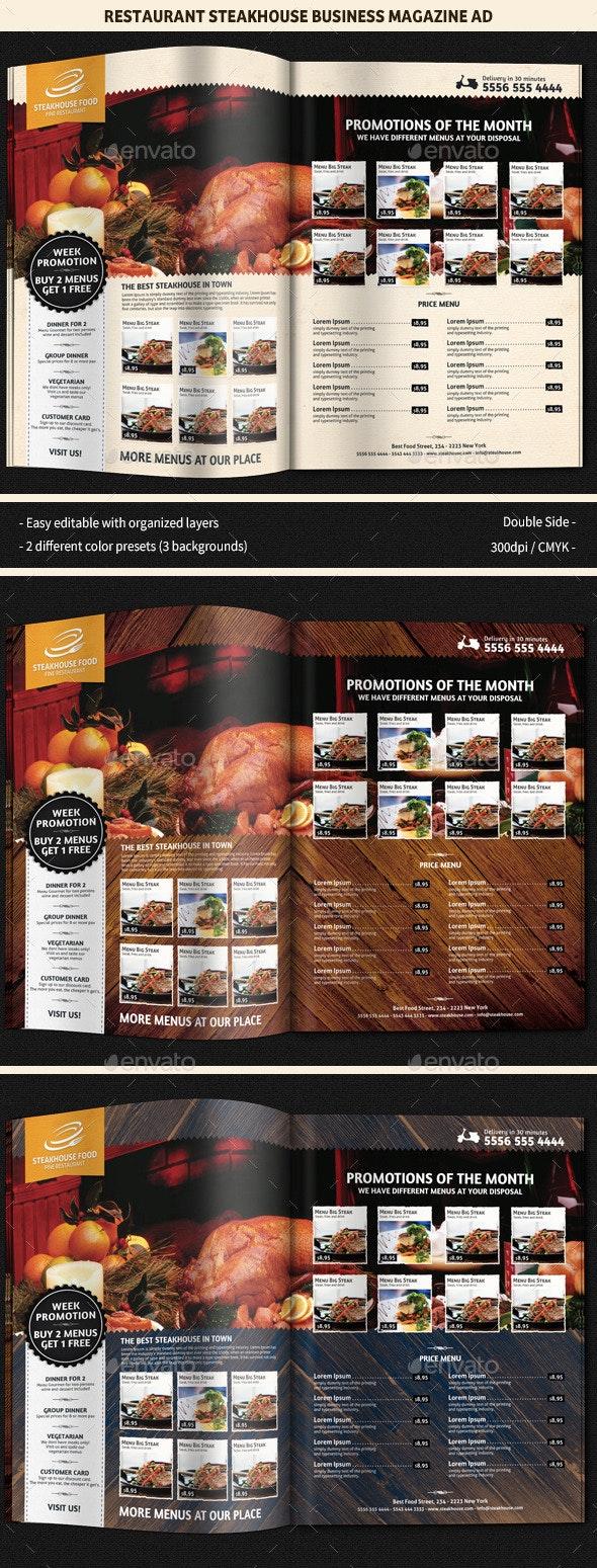 Restaurant SteakHouse Magazine Ad - Magazines Print Templates