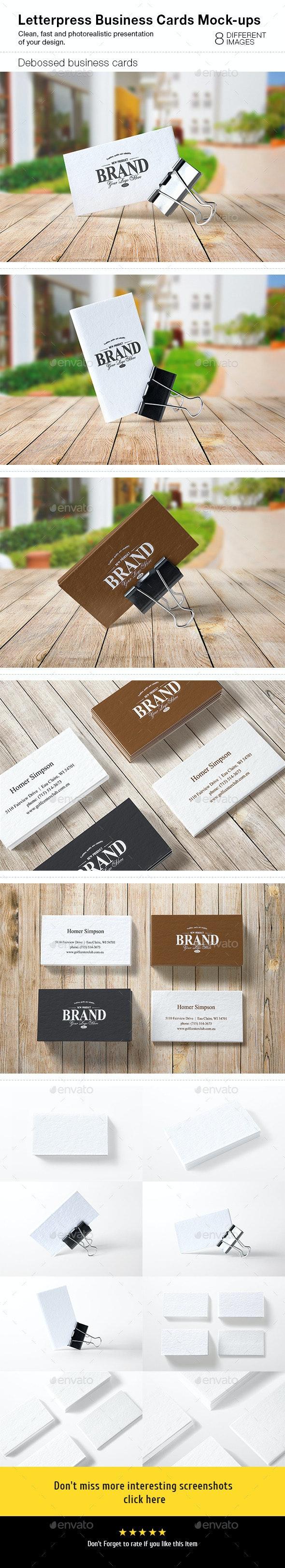 Letterpress Business Cards Mock-Ups - Business Cards Print