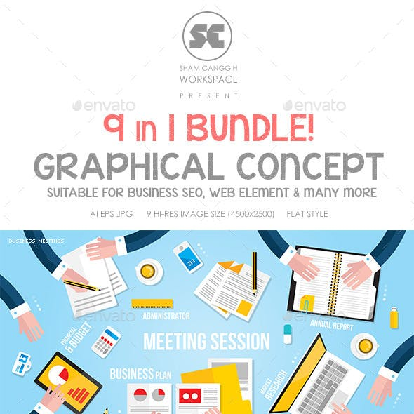 Flat Concept Bundle for Web, Design, Business etc.