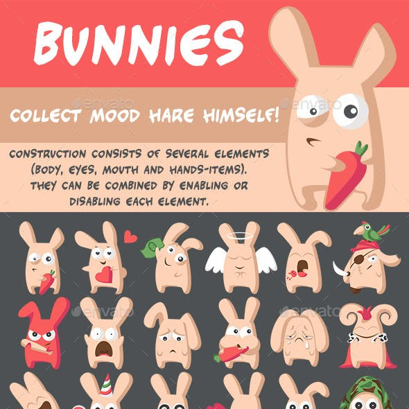 Bunnies Emotions Set + Creator