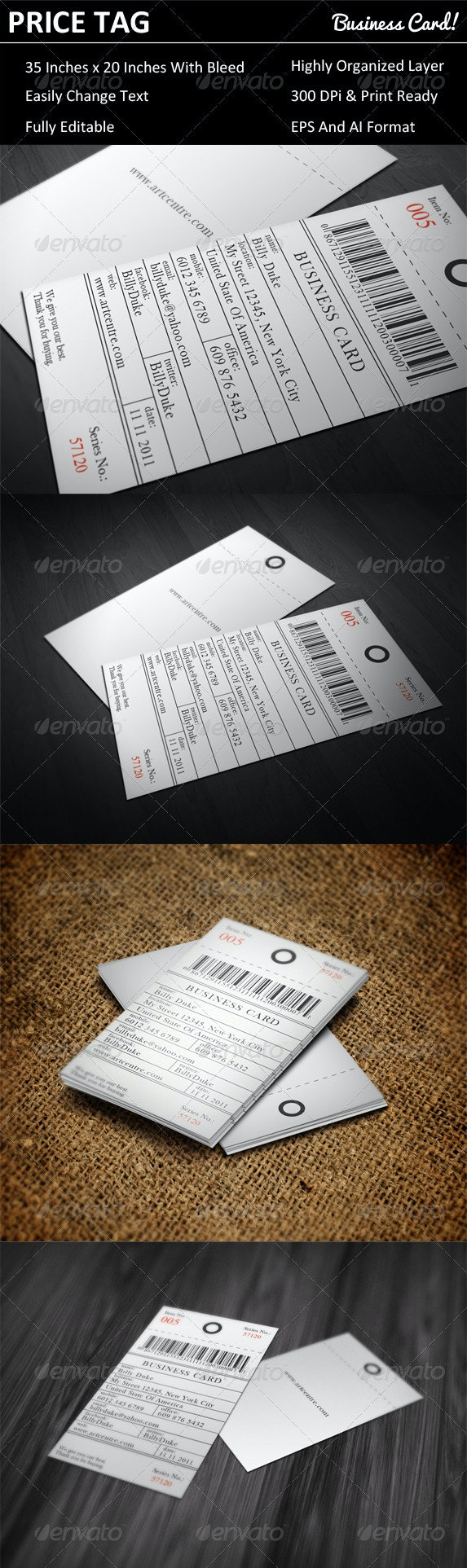 Price Tag Business Card - Creative Business Cards