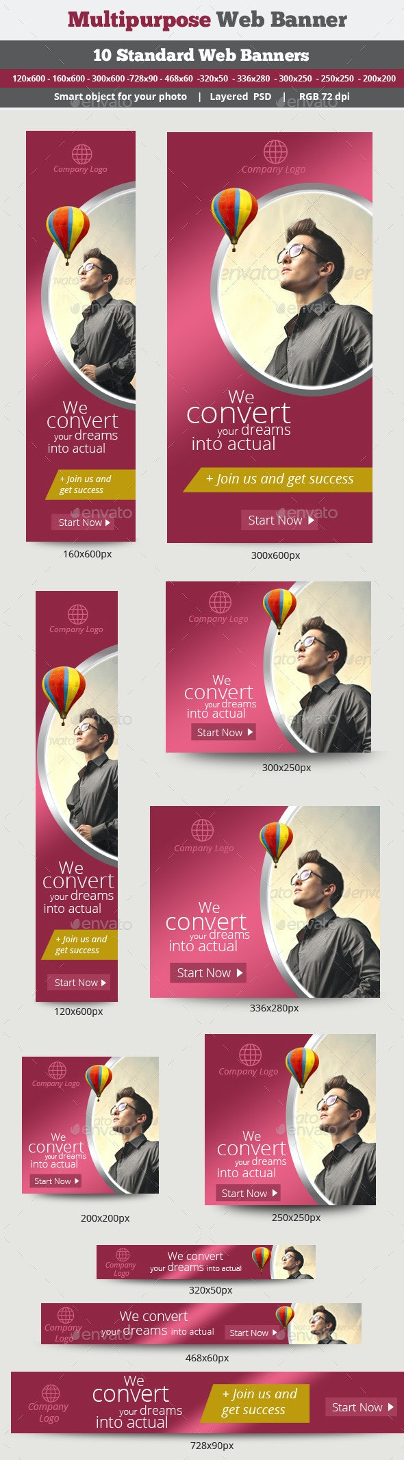 Multipurpose Banner Design - Banners & Ads Web Elements