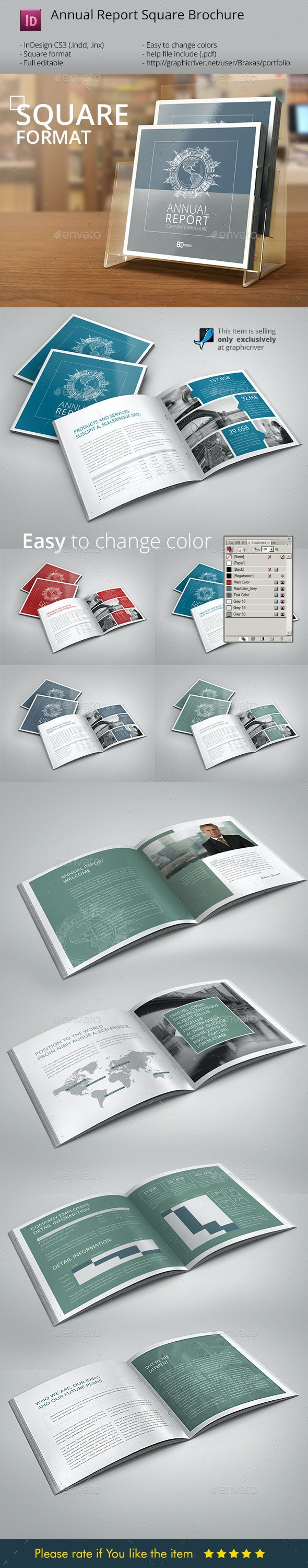 Annual Report InDesign Square Brochure - Informational Brochures