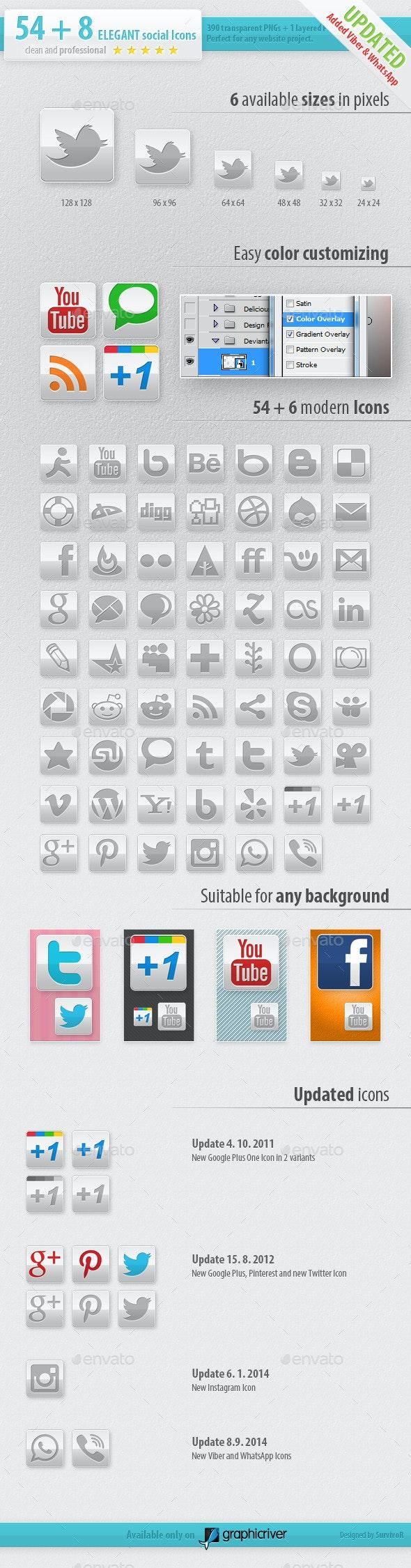 54 Social Media Icons - Elegant Edition - Media Icons