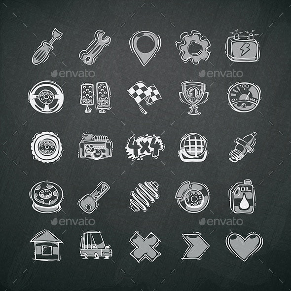 Icons Set of Car Symbols on Blackboard - Man-made objects Objects
