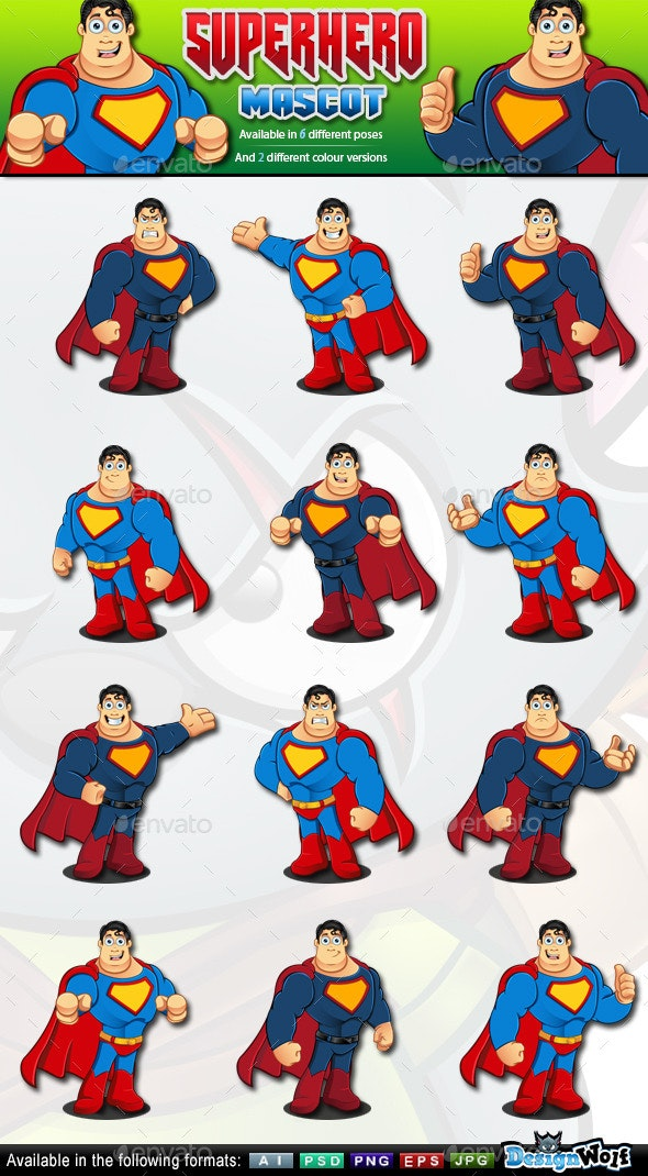 Superhero Mascot - 2 Colour Versions - People Characters