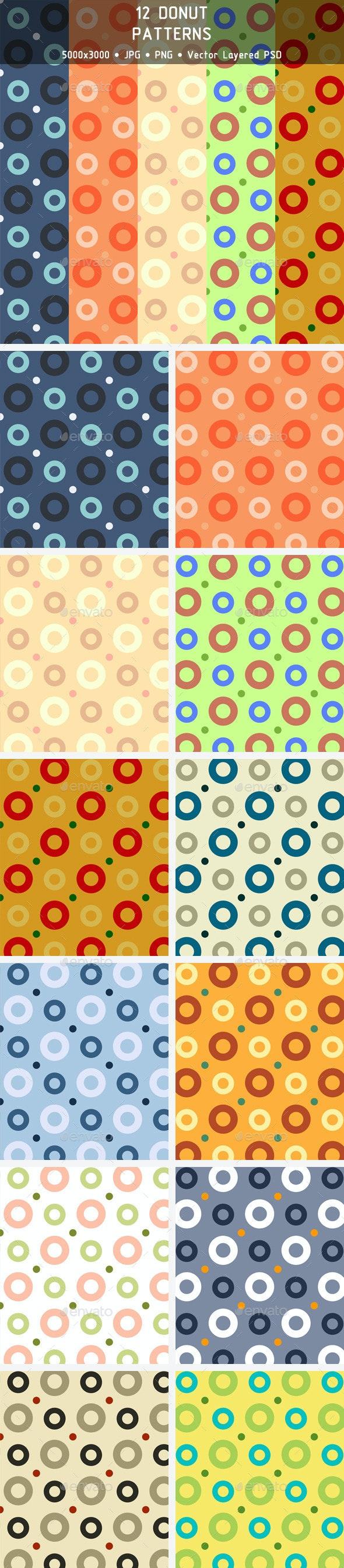 12 Donut Patterns - Patterns Backgrounds