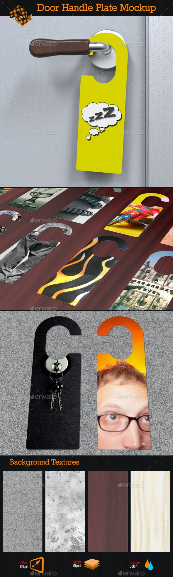 Door Handle Plate / Door Hanger Mockup - Product Mock-Ups Graphics