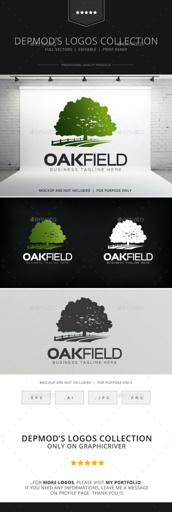 Oak Field Logo - Nature Logo Templates