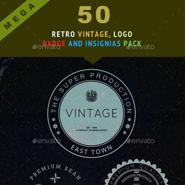50 Mega Retro Vintage, Logo, Badge and Insignias Pack