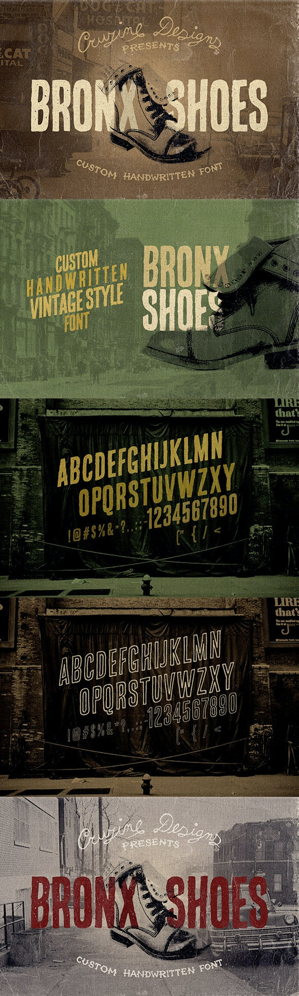 Bronx Shoes Custom Font - Grunge Decorative