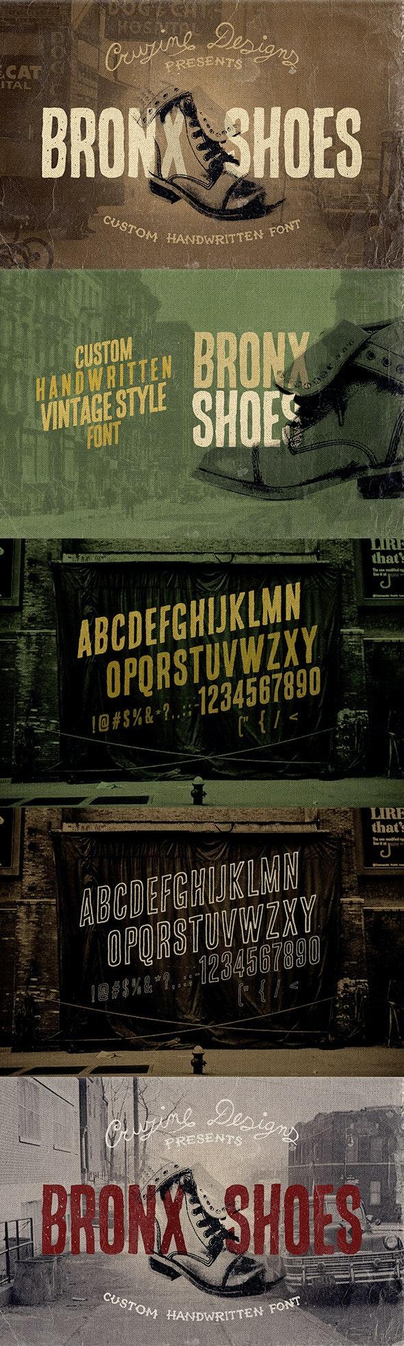 Bronx Shoes Custom Font - Grunge Decorative