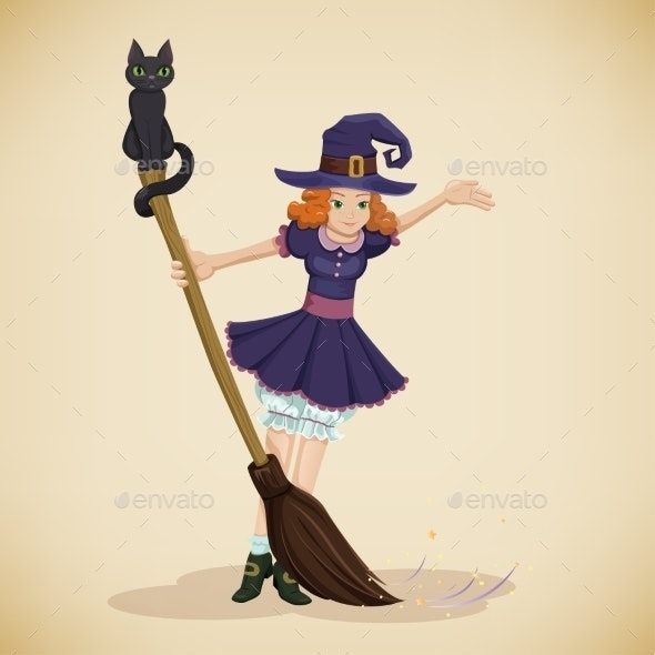Vintage Halloween Card with Little Witch Girl - Halloween Seasons/Holidays