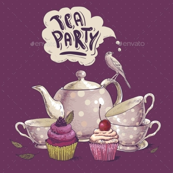 Tea Party Invitation Card with a Cupcake and Pot  - Backgrounds Decorative