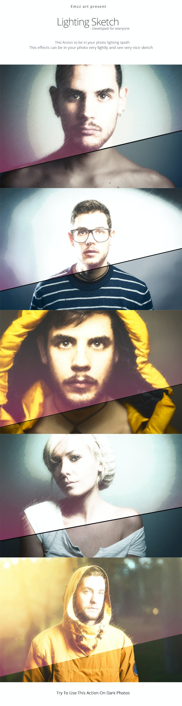 Lighting Sketch Action - Photo Effects Actions