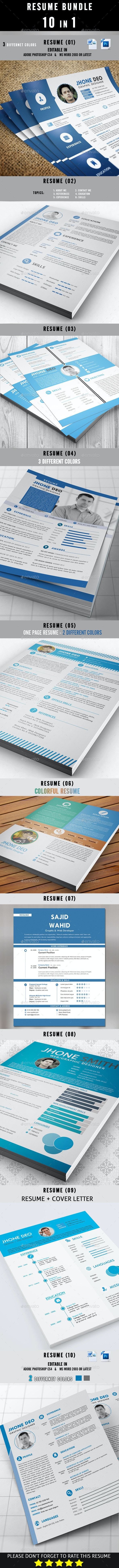 Resume Bundle 10 in 1 - Resumes Stationery
