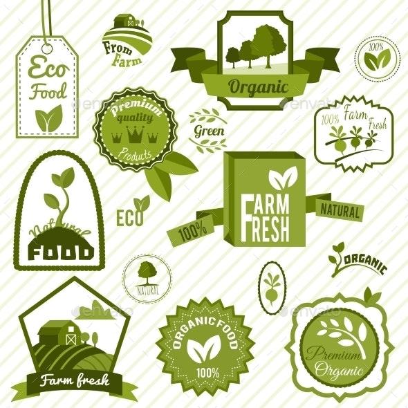 Green ECO Labels - Decorative Symbols Decorative