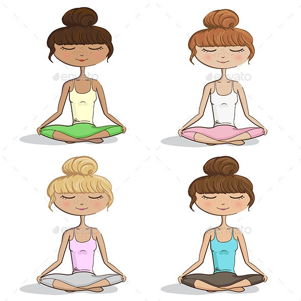 Girl Practicing Yoga - People Characters
