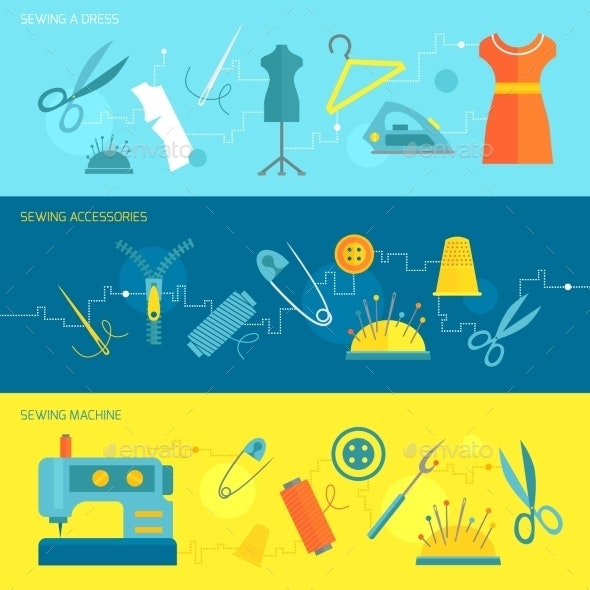 Sewing Equipment Banner Flat - Industries Business