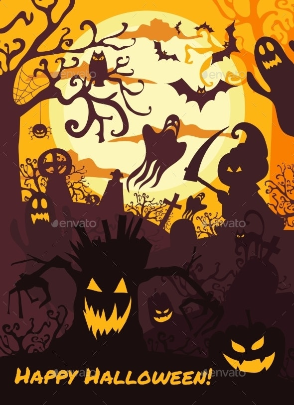 Halloween Illustration Background with Spooky Cemetry - Halloween Seasons/Holidays
