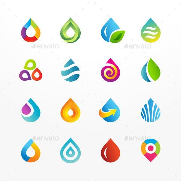 Water Drop Symbol Vector Icon Set