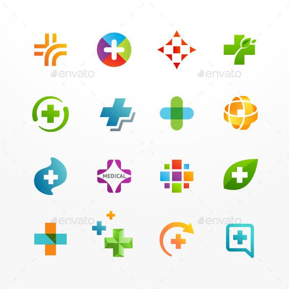 Vector Set of Medical Icons with Cross and Plus