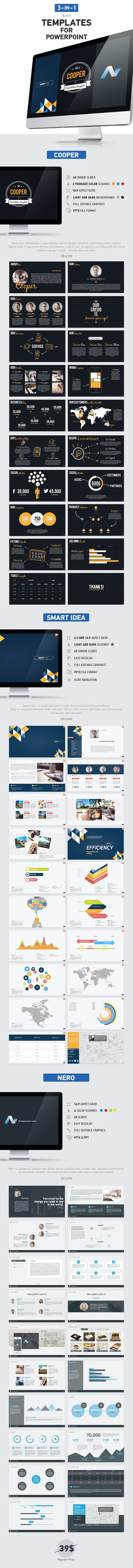 3 in 1 PowerPoint Bundle - Business PowerPoint Templates