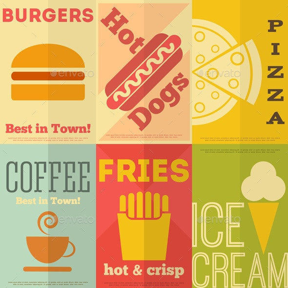 Retro Fast Food Posters Collection - Food Objects