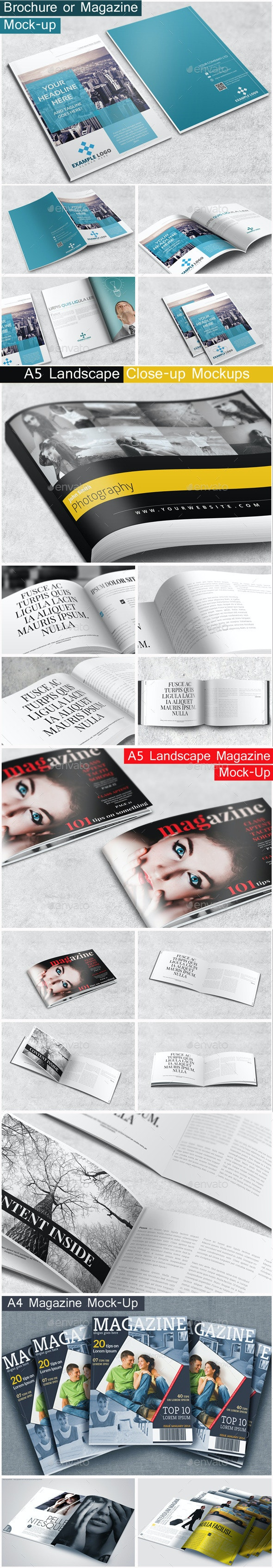 Brochure / Magazine Mock-Up Bundle - Brochures Print