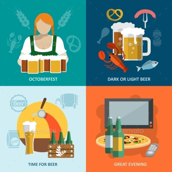 Beer Flat Set - Food Objects