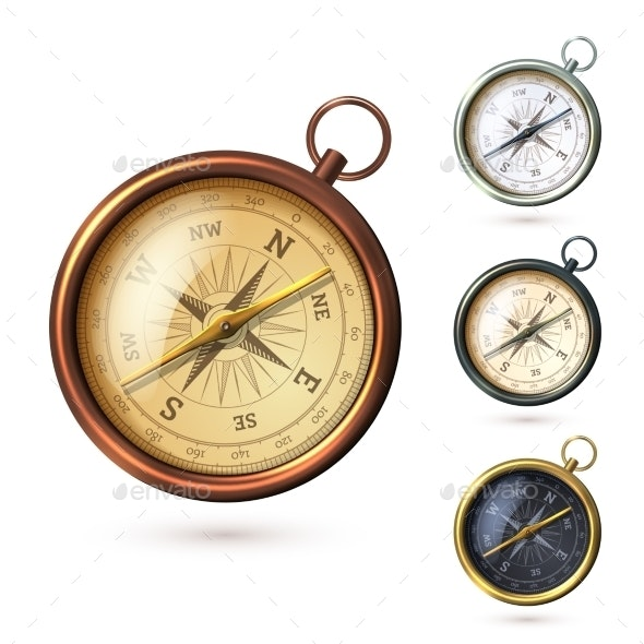 Antique Compass Set - Man-made Objects Objects