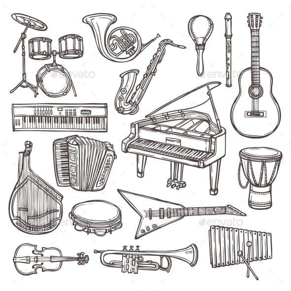 Musical Instruments Sketch Icon