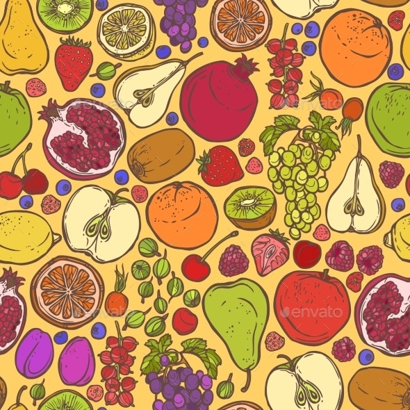 Fruits and Berries Sketch Seamless Pattern - Backgrounds Decorative
