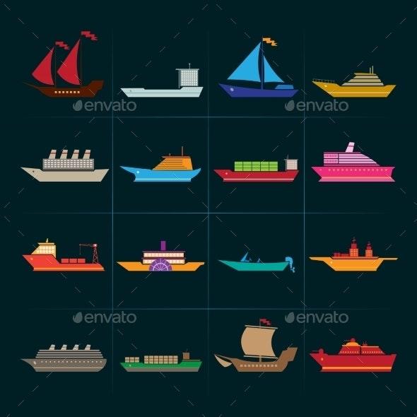 Ship and Boats Icons Set - Web Elements Vectors