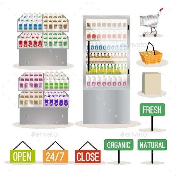 Supermarket Shelves Set - Retail Commercial / Shopping