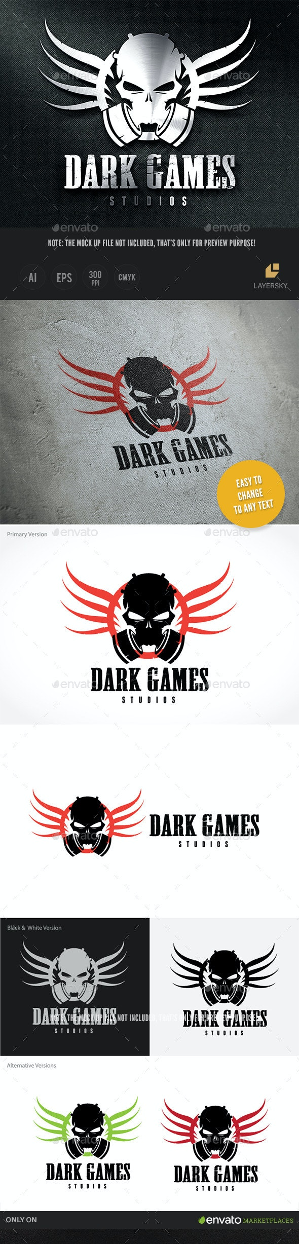 Dark Game Studios - Crests Logo Templates