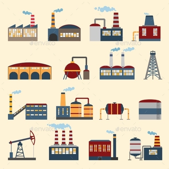 Industrial Building Icons - Industries Business