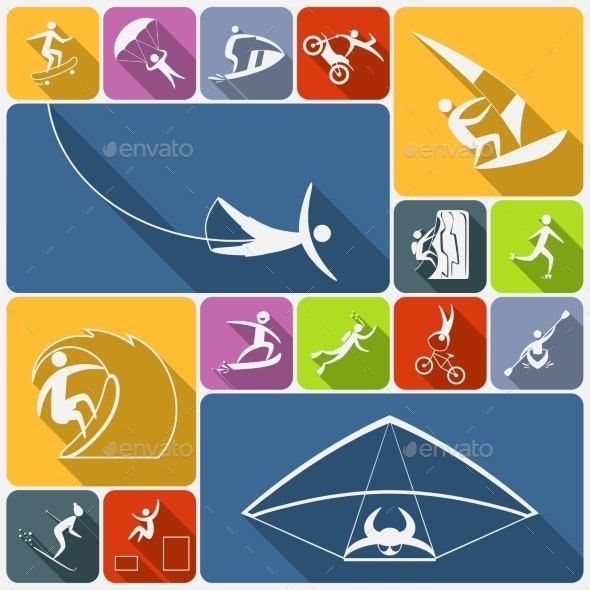 Extreme Sports Icons Flat - Sports/Activity Conceptual
