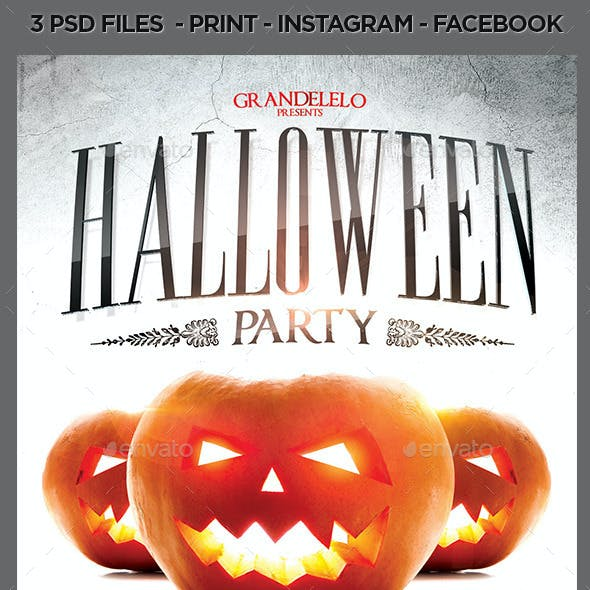 Halloween Party Template with Facebook n Instagram