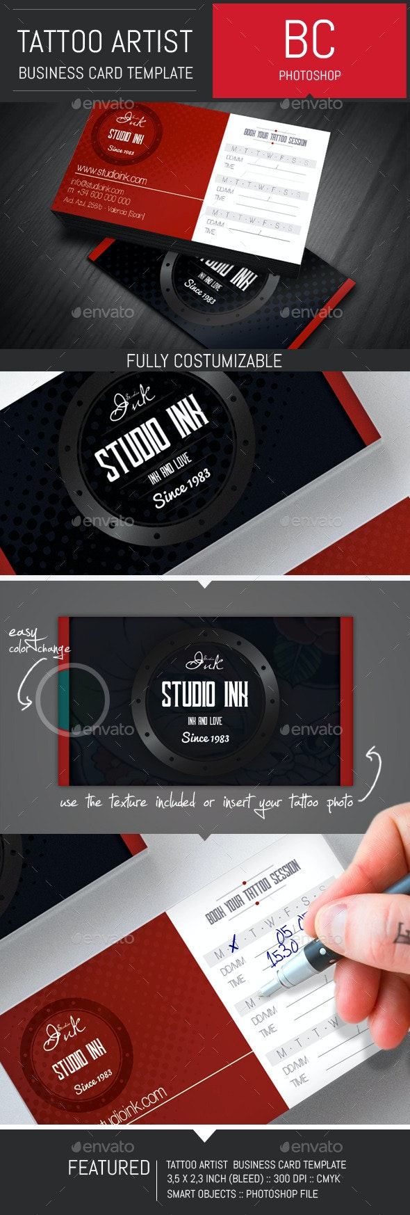 Tattoo Artist Business Card Template - Industry Specific Business Cards