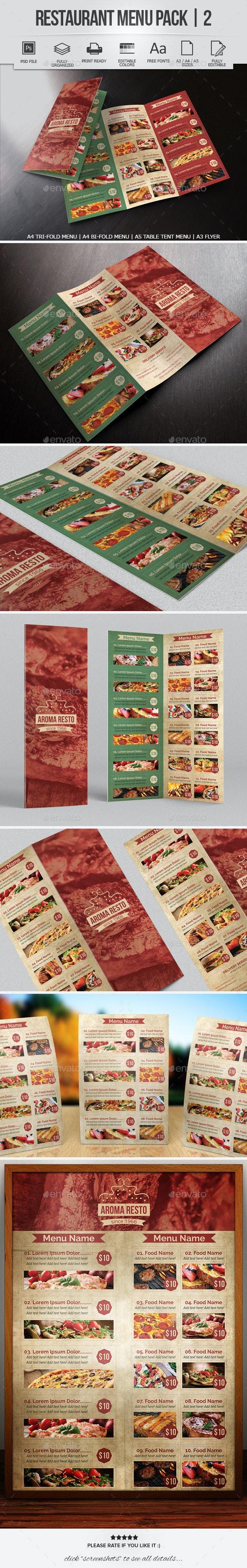 Restaurant Menu Pack 2 - Food Menus Print Templates