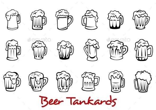 Beer Tankards Set - Food Objects