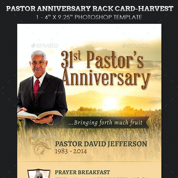 Pastor Anniversary Harvest Rack Card Template