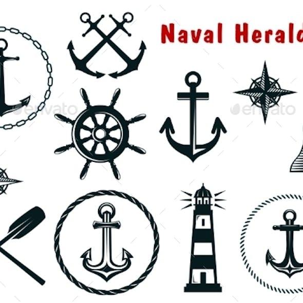 Naval Heraldry Icons Set