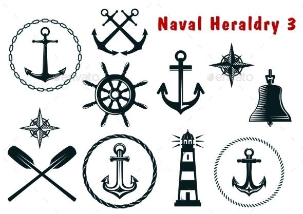 Naval Heraldry Icons Set - Travel Conceptual