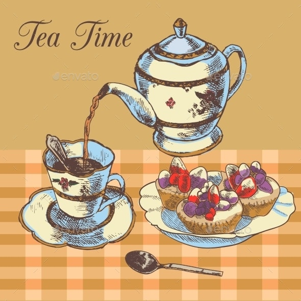 Teapot and Cup of English Tea - Food Objects